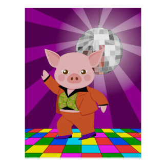 Disco pig on the dance floor poster