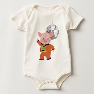 Disco pig with disco ball baby bodysuit