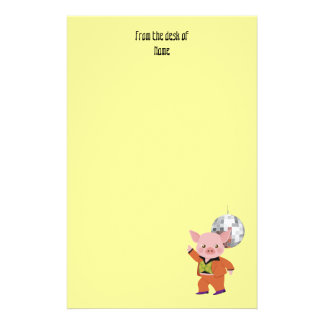 Disco pig with disco ball personalized stationery