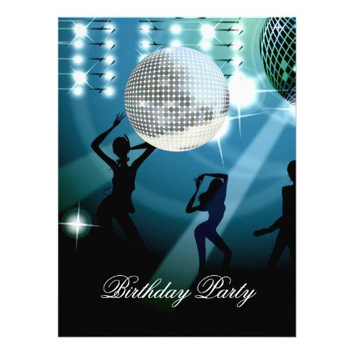 Disco Retro Birthday Party Invitation Custom Announcement