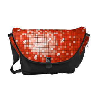 Disco Tile Red messenger bag black