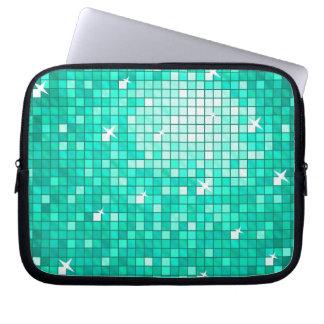Disco Tiles aqua laptop sleeve 10 inch