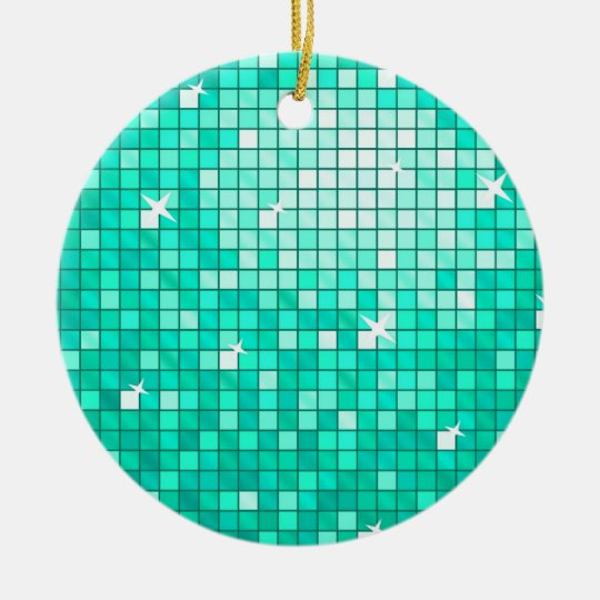 Disco Tiles Aqua ornament round