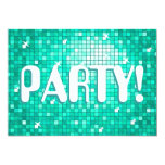 "Disco Tiles Aqua 'PARTY!' invitation amelia text 5"" X 7"" Invitation Card"