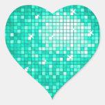 Disco Tiles Aqua sticker heart