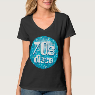 Disco Tiles Blue '70s Disco' ladies v-neck black T-Shirt
