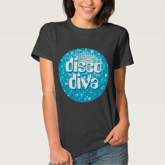 Disco Tiles Blue 'disco diva' t-shirt black