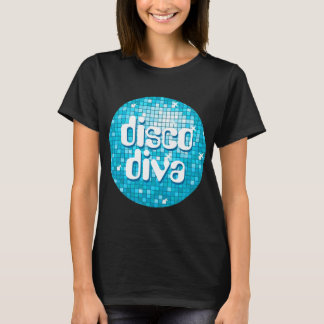 Disco Tiles Blue 'disco diva' t-shirt black