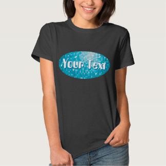 Disco Tiles Blue Your Text oval t-shirt black