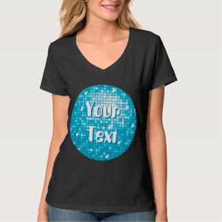 Disco Tiles Blue 'Your Text' round ladies v-neck Shirt