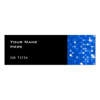 Disco Tiles Dark Blue side skinny black Double-Sided Mini Business Cards (Pack Of 20)