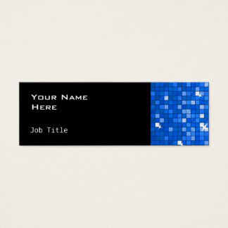 Disco Tiles Dark Blue side skinny black Mini Business Card