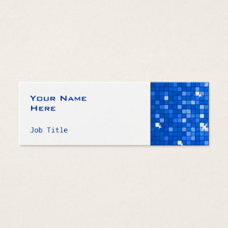 Disco Tiles Dark Blue side skinny white Mini Business Card