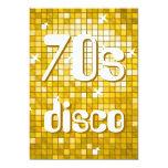 """Disco Tiles """"Gold"""" 70s Disco invitation 5"""" X 7"""" Invitation Card"""
