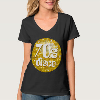 "Disco Tiles ""Gold"" '70s Disco' ladies v-neck black T-Shirt"