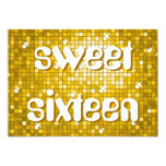 "Disco Tiles ""Gold"" 'sweet sixteen' amelia text 5x7 Paper Invitation Card"
