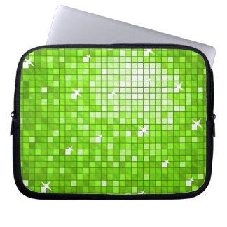 Disco Tiles Green laptop sleeve 10 inch