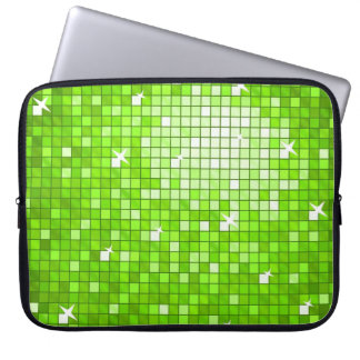 Disco Tiles Green laptop sleeve 15 inch