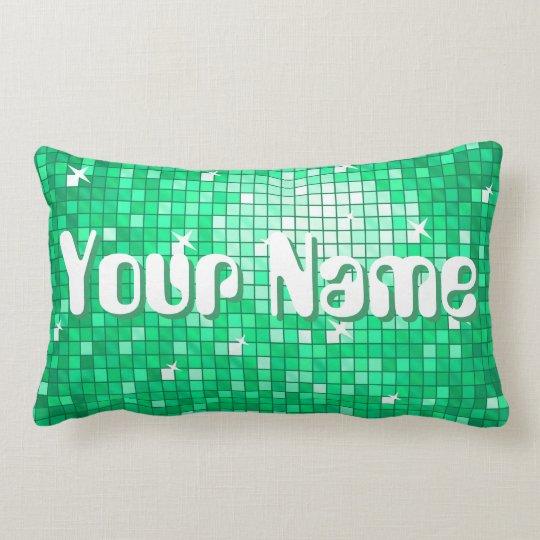 Disco Tiles Green 'Name' throw pillow lumbar