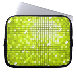 Disco Tiles Lime laptop sleeve 10 inch