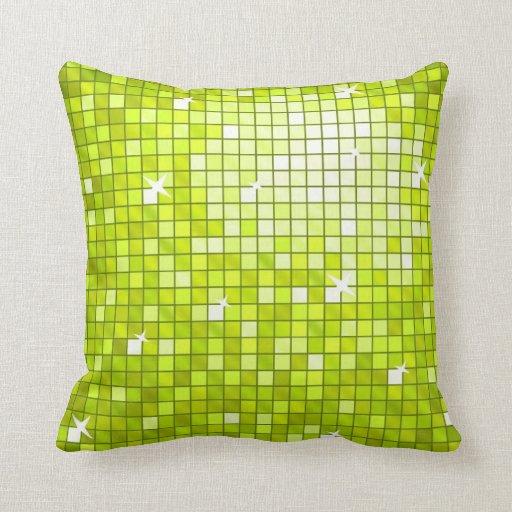 Disco Tiles Lime throw pillow square
