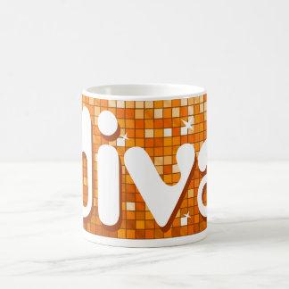 Disco Tiles Orange 'diva' mug