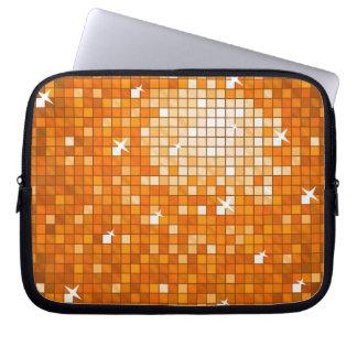 Disco Tiles Orange laptop sleeve 10 inch