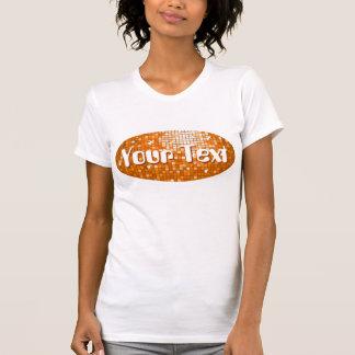 Disco Tiles Orange 'Your Text' oval ladies white T-shirt