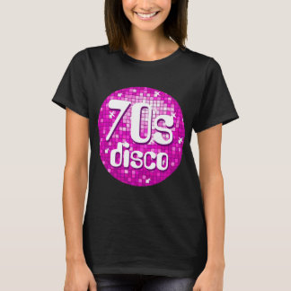 Disco Tiles Pink '70s Disco' women's t-shirt black