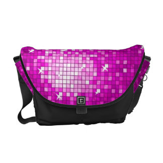 Disco Tiles Pink messenger bag black