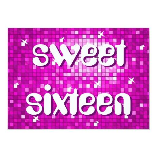 Disco Tiles Pink 'sweet sixteen' amelia text 5x7 Paper Invitation Card