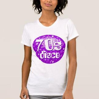 Disco Tiles Purple '70s Disco' ladies petite white T-Shirt