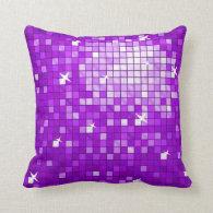 Disco Tiles Purple throw pillow square
