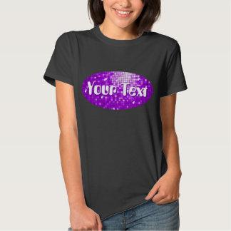 Disco Tiles Purple Your Text oval i-shirt black T-shirt