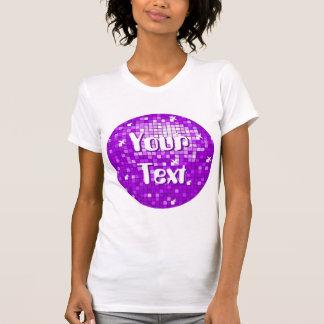 Disco Tiles Purple 'Your Text' round ladies white T Shirt