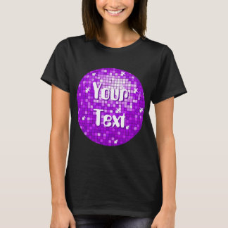 Disco Tiles Purple Your Text t-shirt black