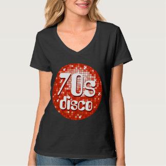 Disco Tiles Red '70s Disco' ladies v-neck black T-Shirt