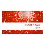 Disco Tiles Red business card white stripe