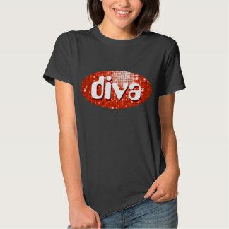 Disco Tiles Red 'diva' t-shirt black