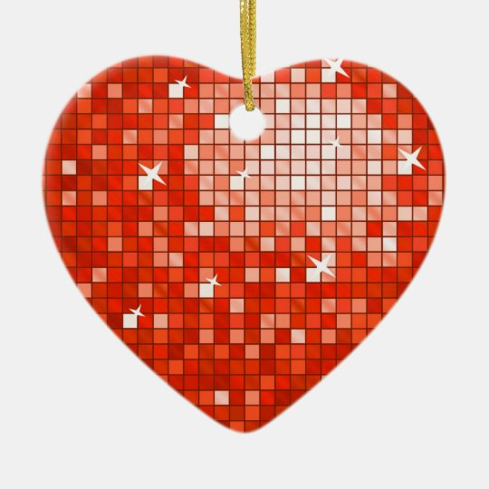 Disco Tiles Red ornament heart