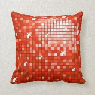 Disco Tiles Red throw pillow square