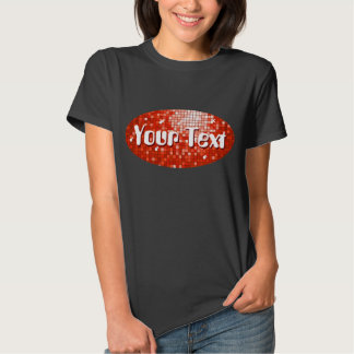 Disco Tiles Red 'Your Text' oval black T Shirt