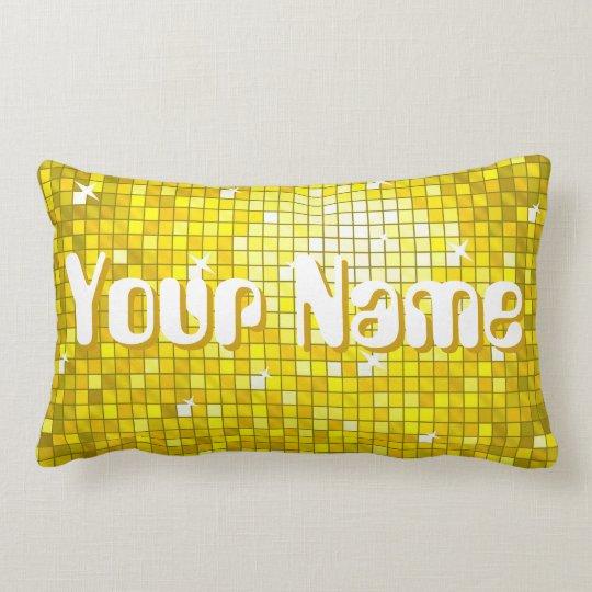 Disco Tiles Yellow 'Name' throw pillow lumbar