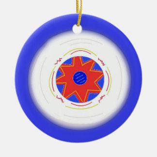 Disco volador azul fresco adorno navideño redondo de cerámica