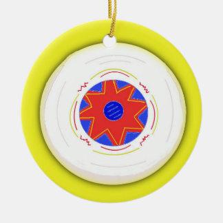 Disco volador fresco adorno navideño redondo de cerámica