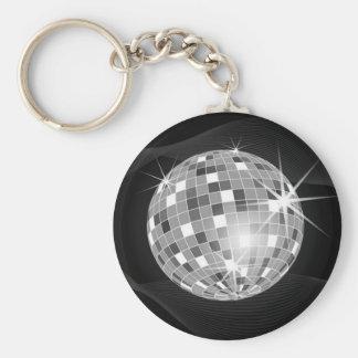 Discoball en diseño negro del fondo llavero redondo tipo pin