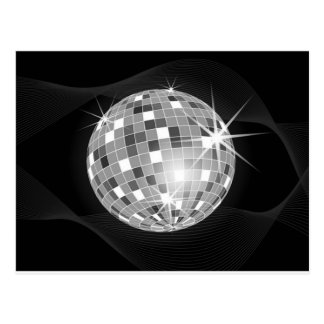 Discoball on black background design postcard