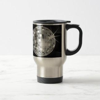 Discoball on black background design travel mug