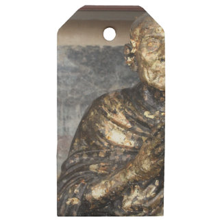 Discolored and Gold Statue of Buddha Wooden Gift Tags