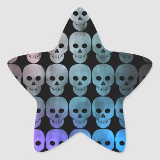 Discolored and grungy colorful skulls version 1 star sticker